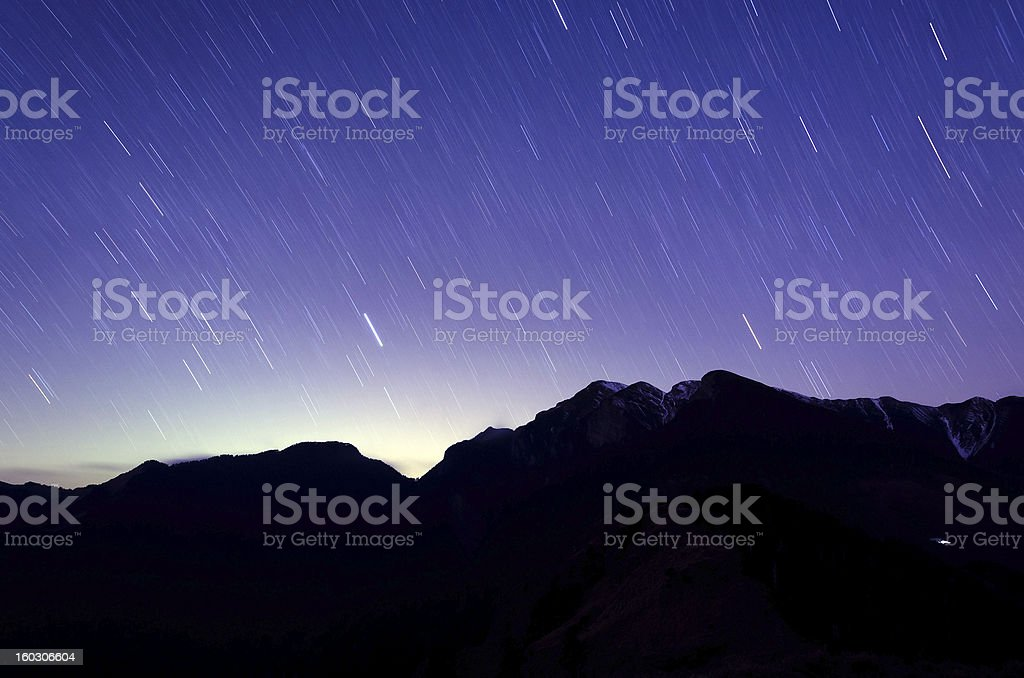 Star trail of Mt. Xue royalty-free stock photo