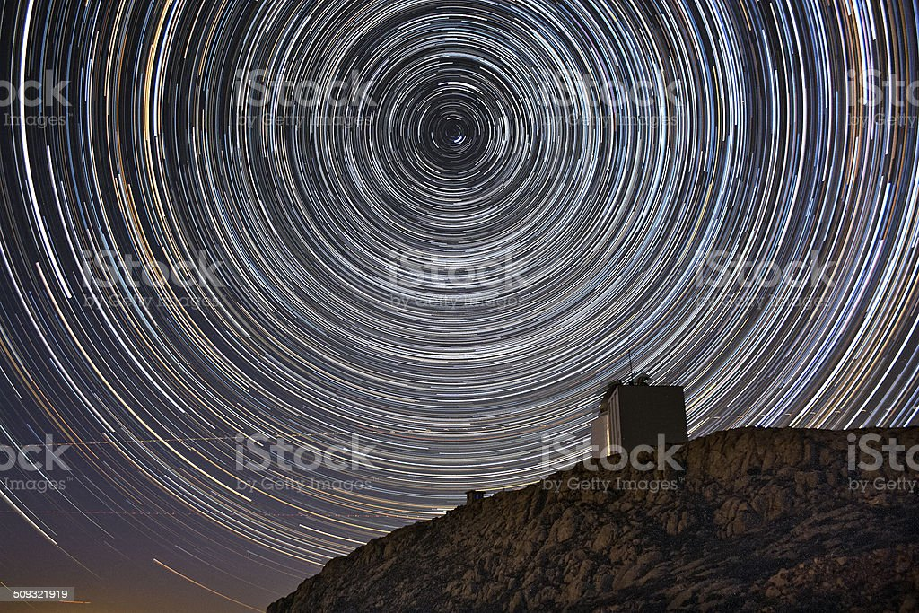 Star trails and the Observatory stock photo