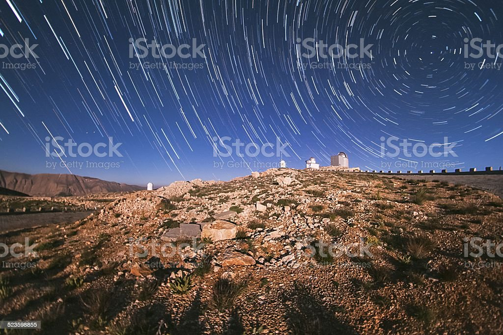 Star trails and the Observatory royalty-free stock photo