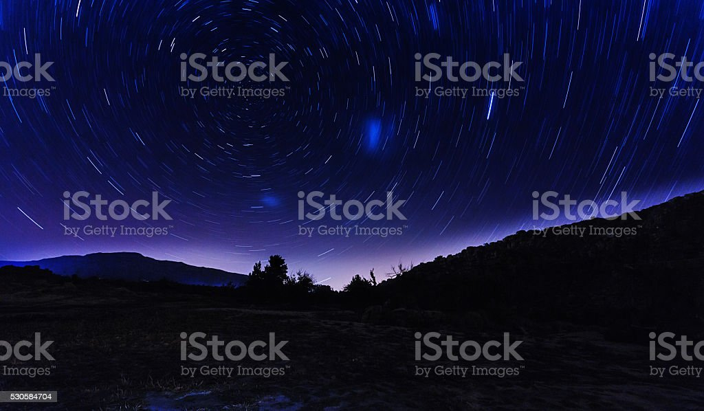 Star trails around the celestial South Pole stock photo