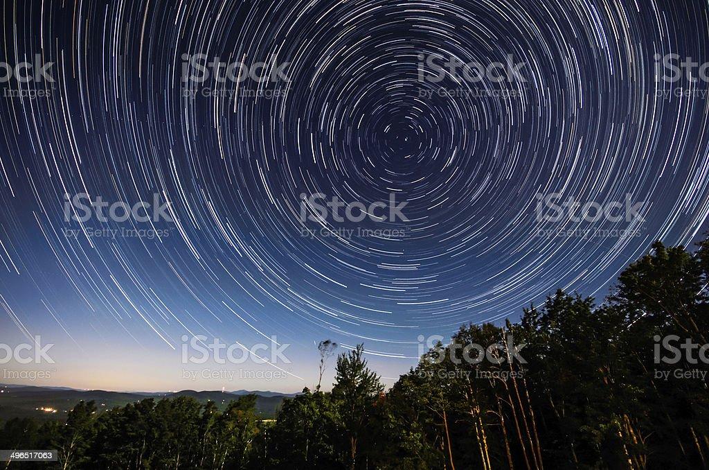 Star trails around the North Star stock photo