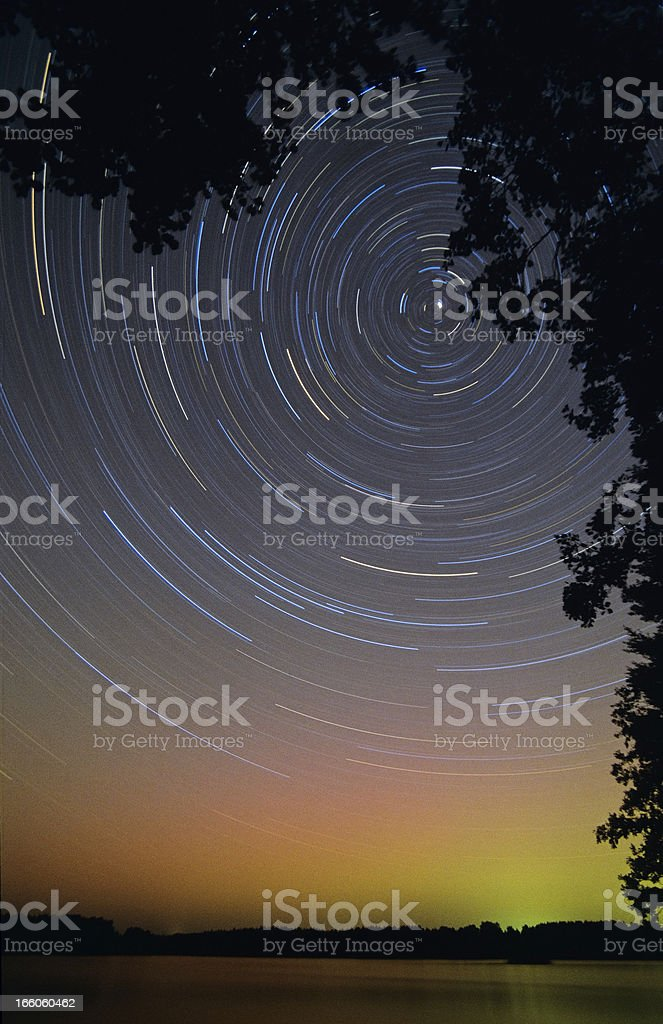 Star trails behind tree branches stock photo