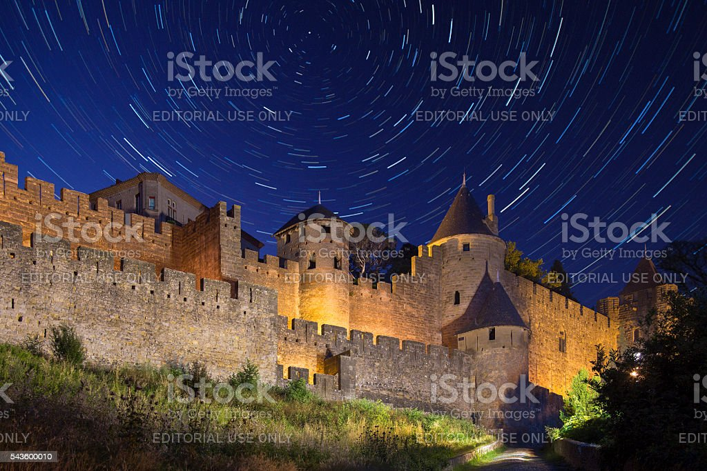 Star Trails - Carcassonne - France stock photo