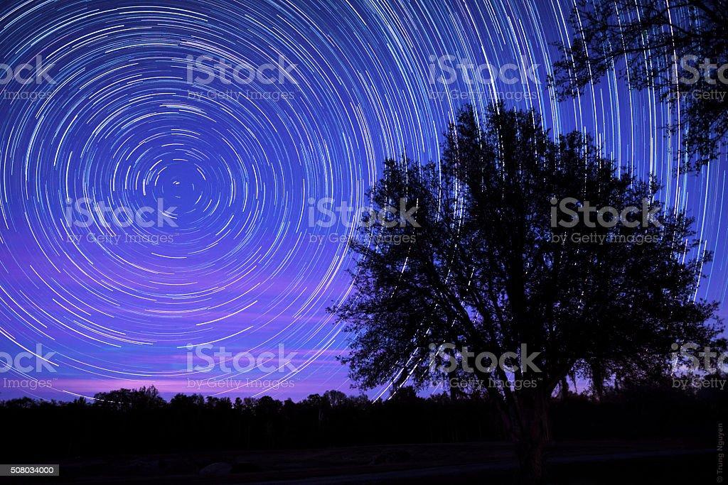 Star Trails Florida Purple Sky royalty-free stock photo