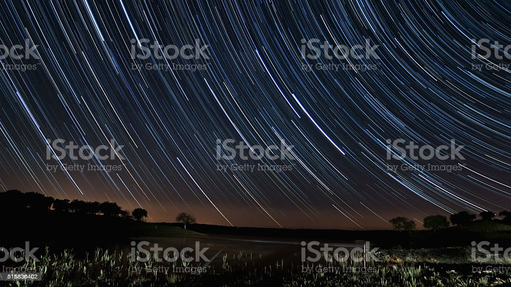 Star Trails in Alentejo stock photo