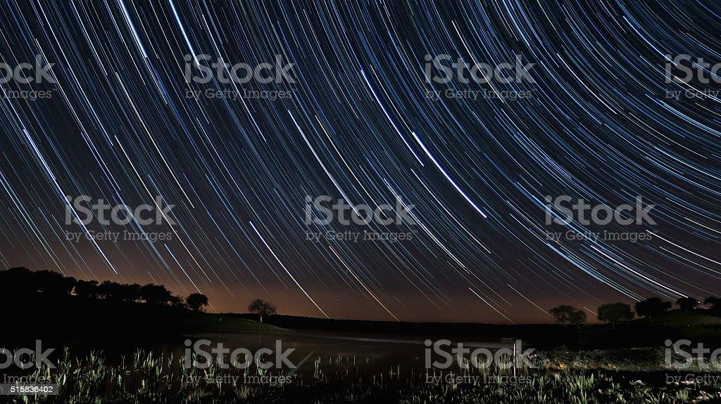 Star Trails in Alentejo stock photo