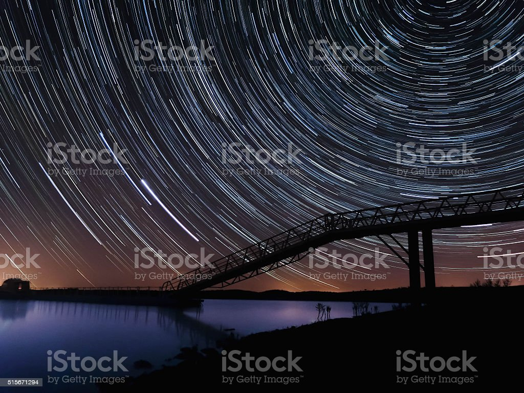 Star Trails in Portugal stock photo