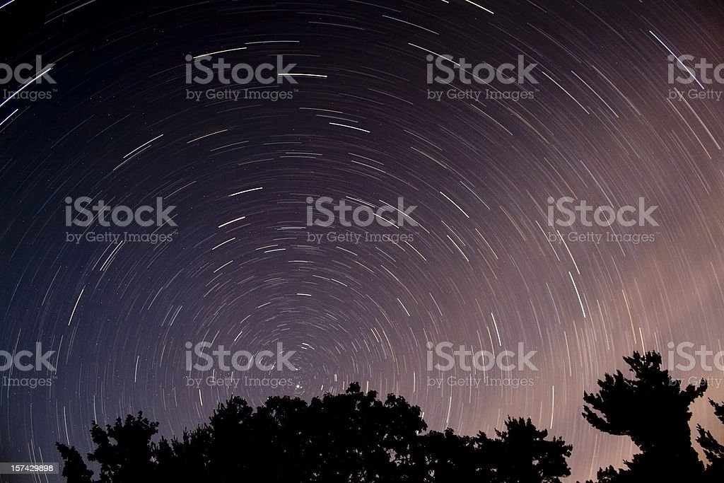 Star Trails in the North Woods, Maine royalty-free stock photo