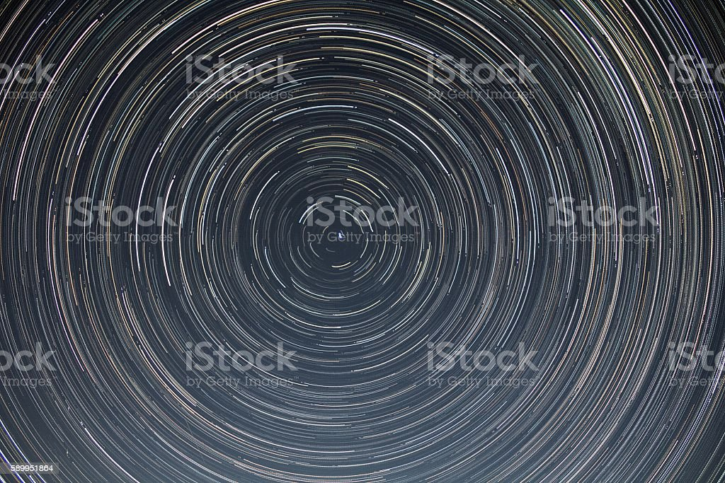 Star trails, long exposure stock photo