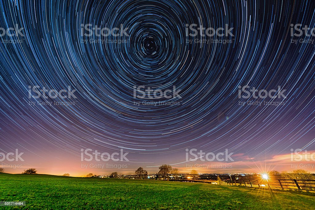 Star Trails on Hill of Tara stock photo