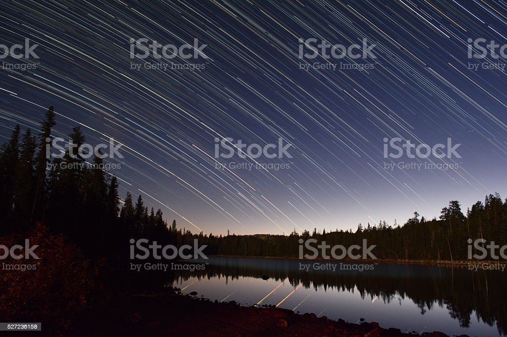 Star Trails Over a Calm Lake in Northern California royalty-free stock photo