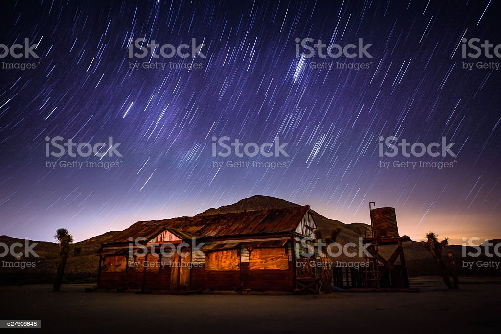 Star Trails Over An Abanded Mine Shack In Mojave Desert stock photo