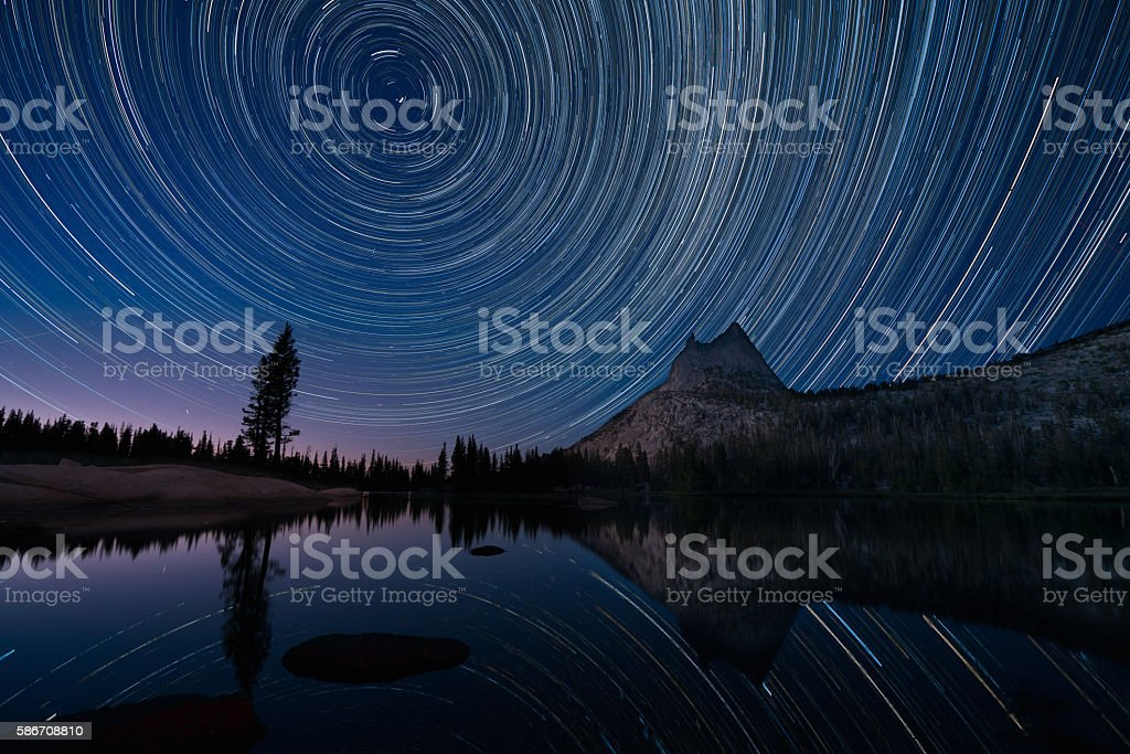 Star Trails Over Cathedral Lake, Yosemite royalty-free stock photo