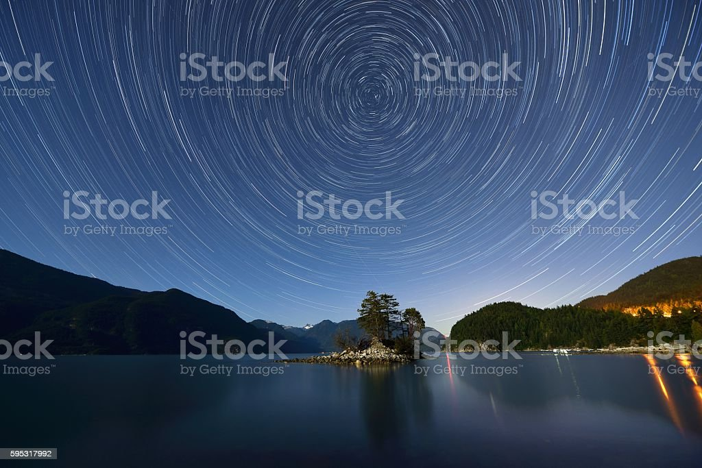 Star Trails over Furry Creek stock photo