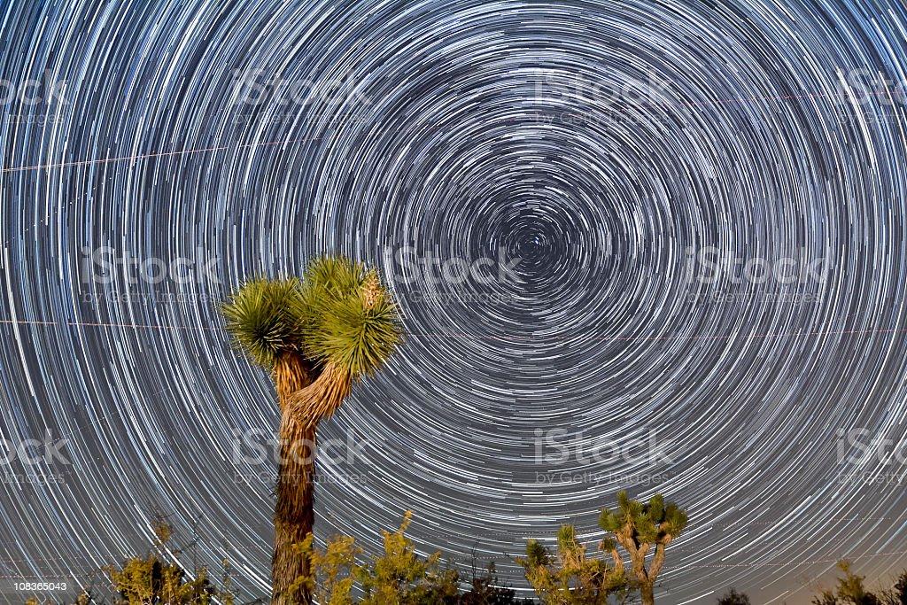 Star Trails over Joshua Tree National Park stock photo