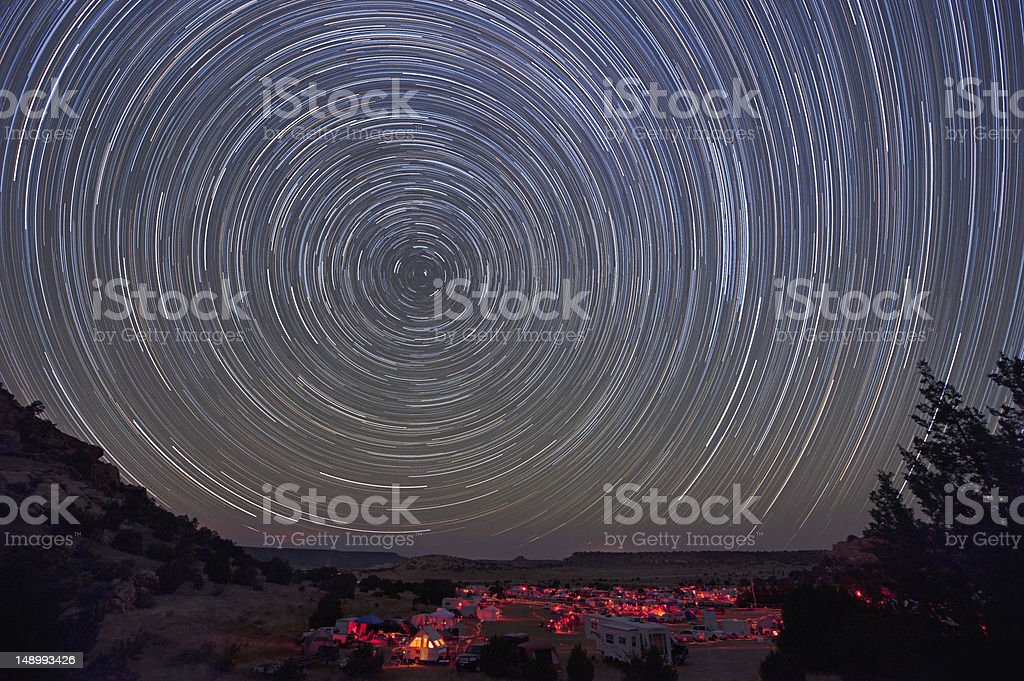 Star trails over starparty royalty-free stock photo