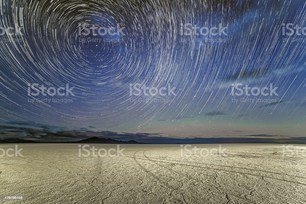 Star Trails over the Bonneville Salt Flats stock photo