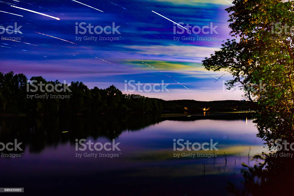 star trails over the river royalty-free stock photo