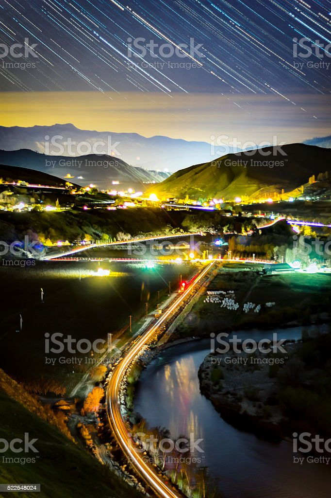 Star Trails over the Wenatchee River stock photo