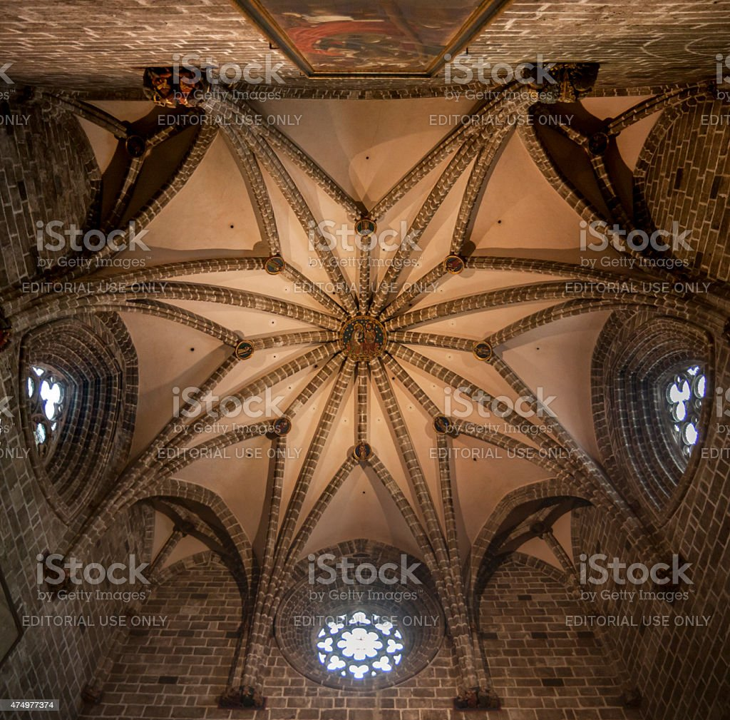 Star vaulting in a chapel of the cathedral of Valencia stock photo