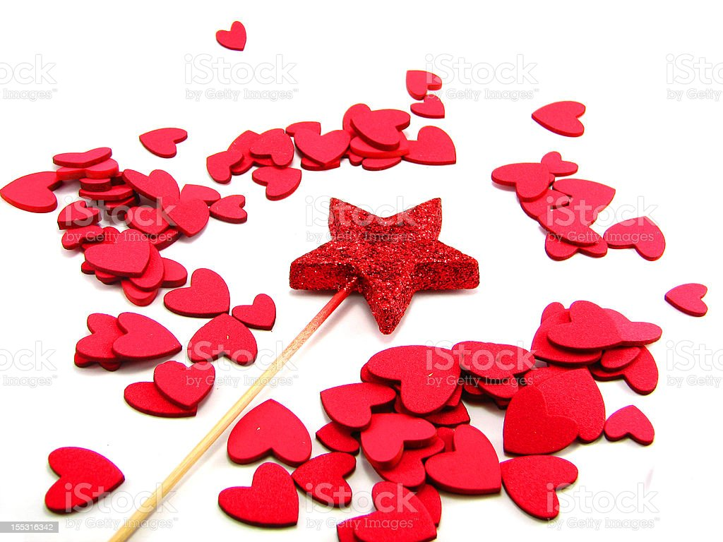 Star wand with hearts stock photo