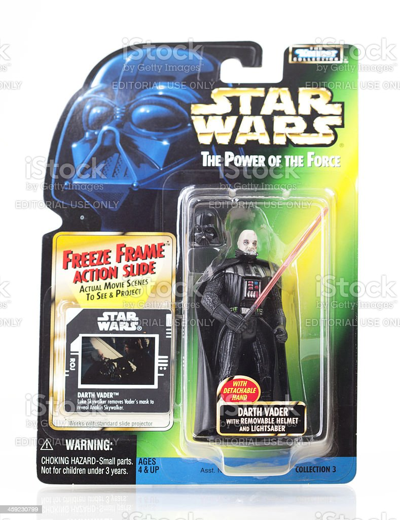 Star Wars Action Figure - Darth Vader with Film Still stock photo