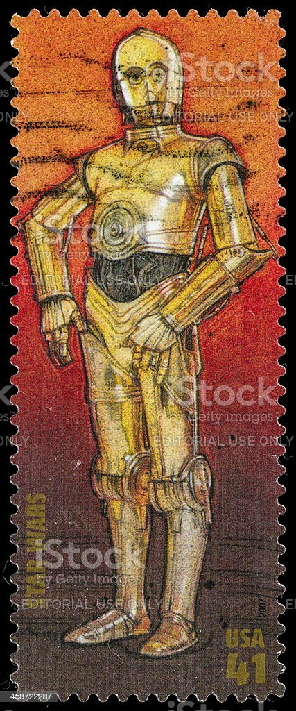 USA Star Wars C-3PO postage stamp stock photo