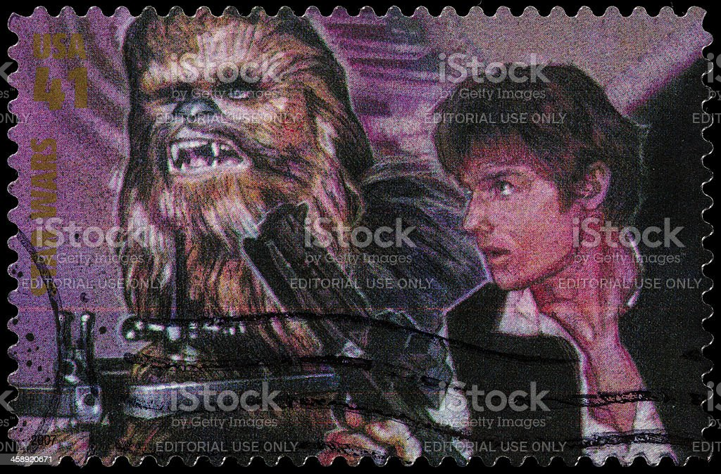 USA Star Wars Han Solo and Chewbacca postage stamp stock photo