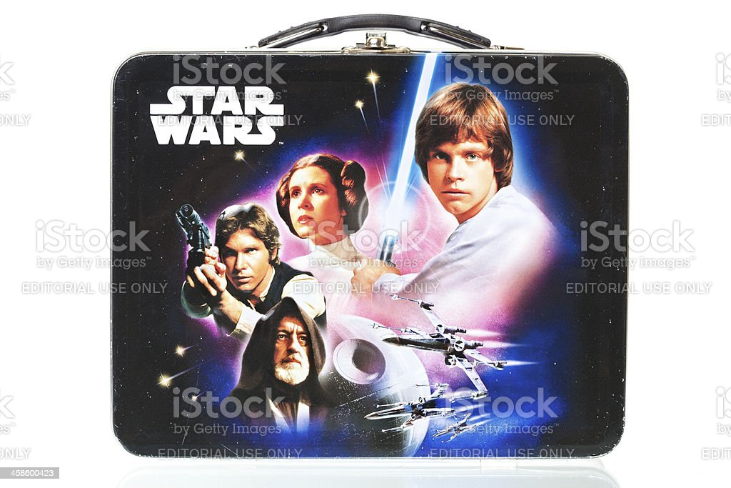 Star Wars Lunch Box With Reflection, Isolated on White stock photo