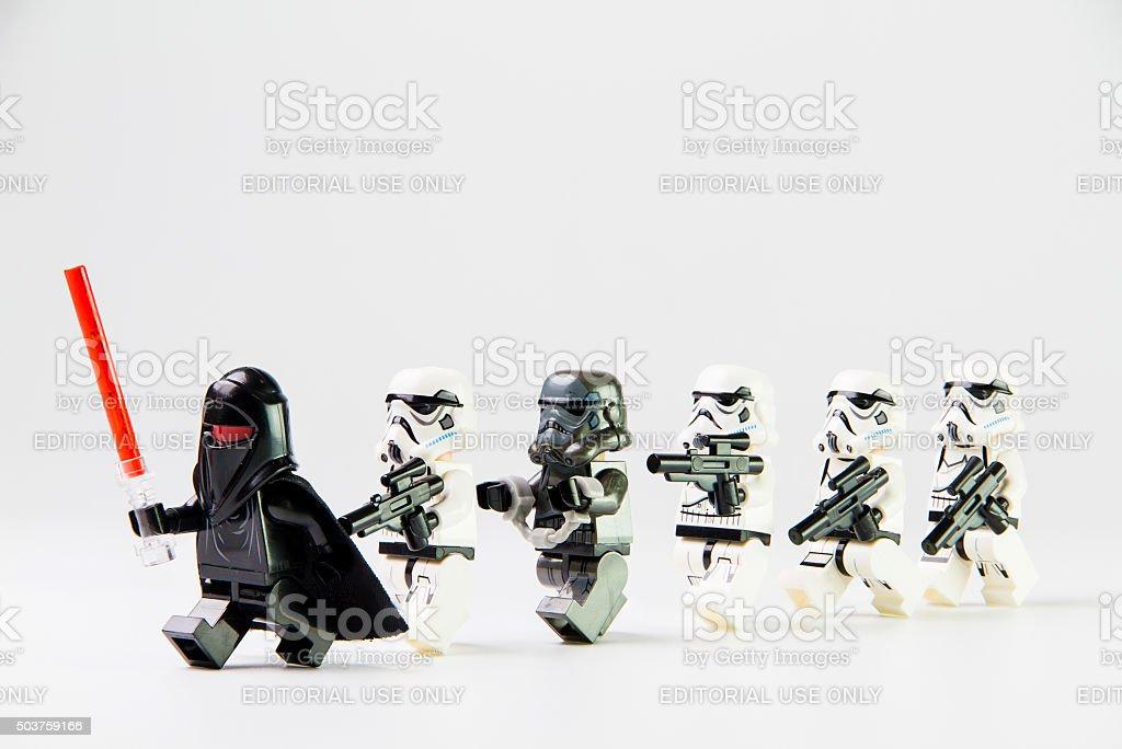 Star Wars movie : Stomtrooper prisoner caught stock photo