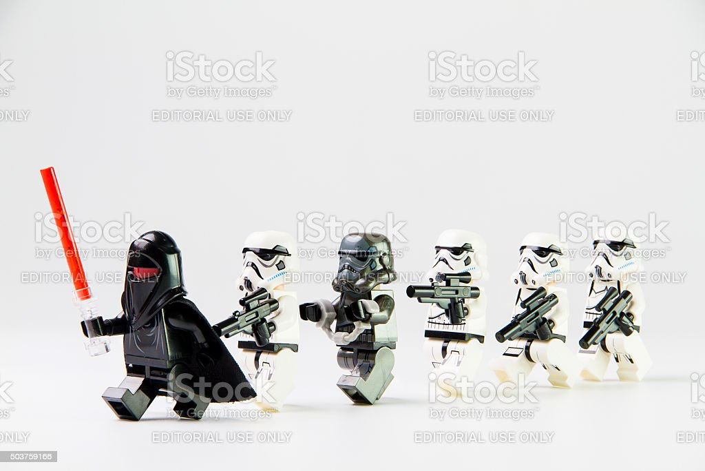 Star Wars movie : Stomtrooper prisoner caught stock photo
