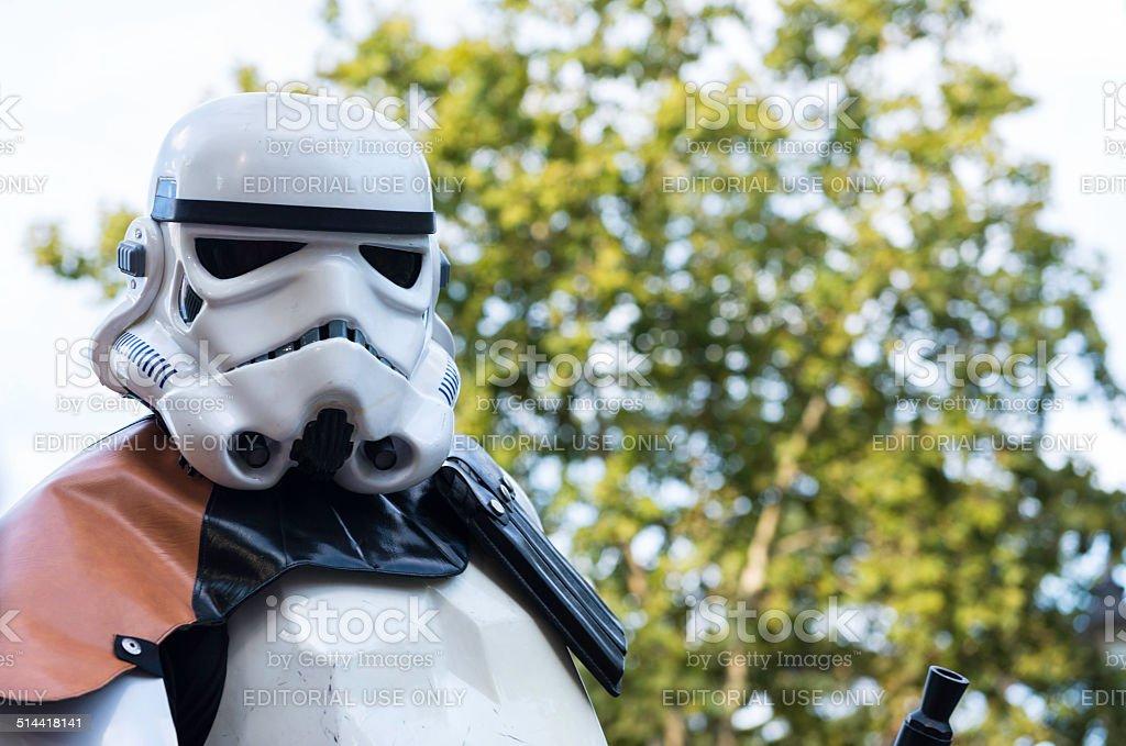 Star Wars Stormtrooper in the Retiro Park in Madrid stock photo