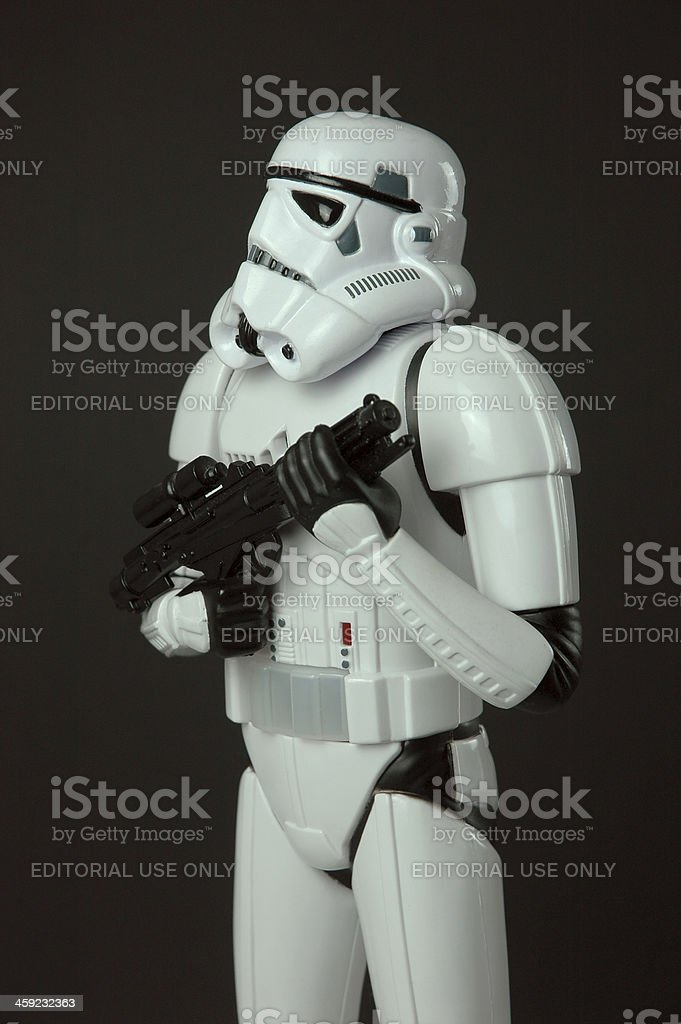 Star Wars Stormtrooper toy figure standing with blaster weapon stock photo
