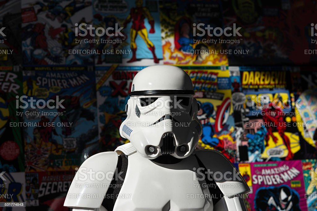 Star Wars white Imperial Stormtrooper action figure stock photo
