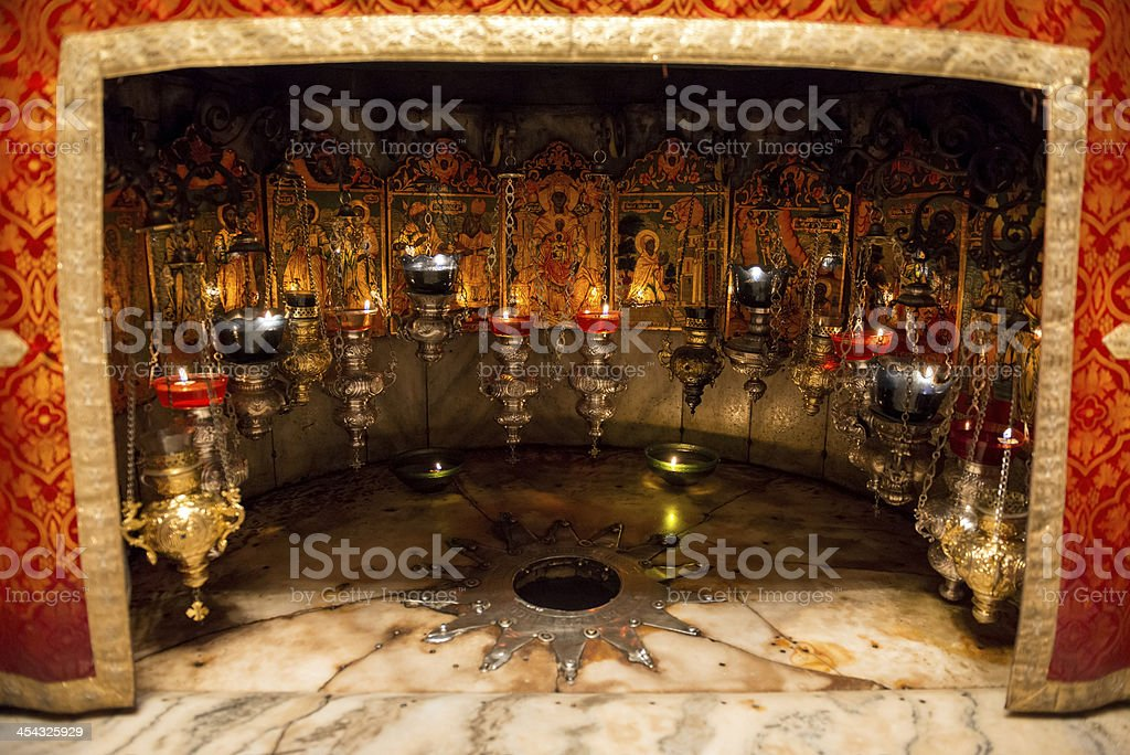 Star where Jesus was born in Bethlehem's Church of Nativity stock photo