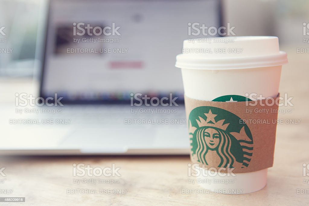 Starbucks and working stock photo
