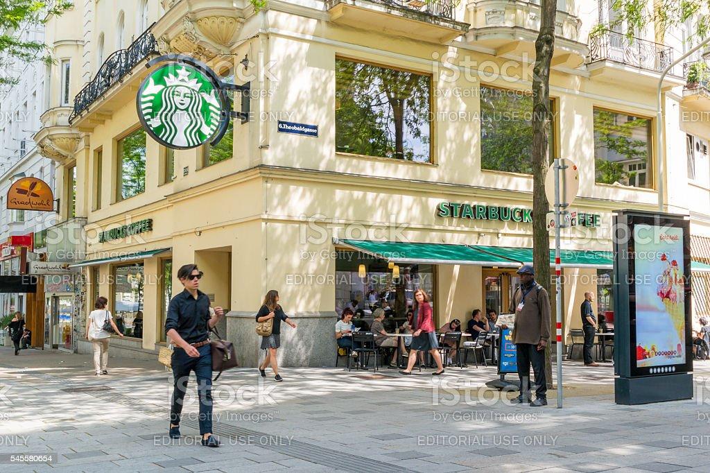 Starbucks cafe in Mariahilfer Strasse in Vienna, Austria stock photo
