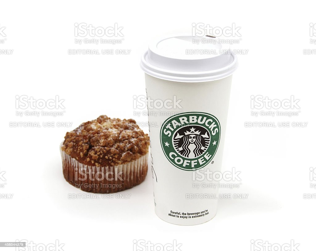 Starbucks coffee cup with muffin royalty-free stock photo