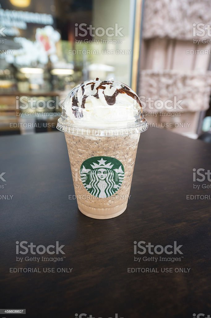 Starbucks Coffee Java Chip Frappuccino to go stock photo