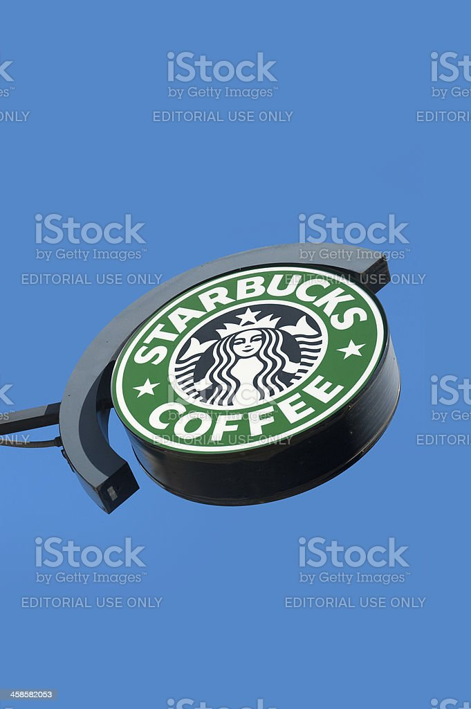 Starbucks Coffee Sign with Logo royalty-free stock photo