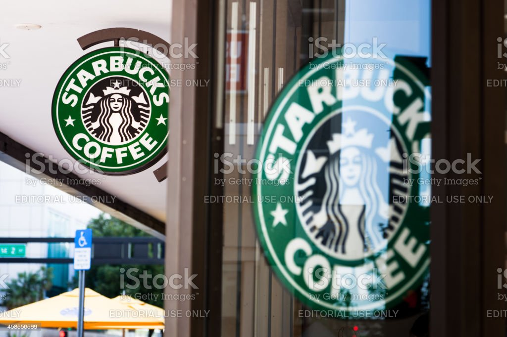 Starbucks Coffee Signs in Miami Downtown royalty-free stock photo