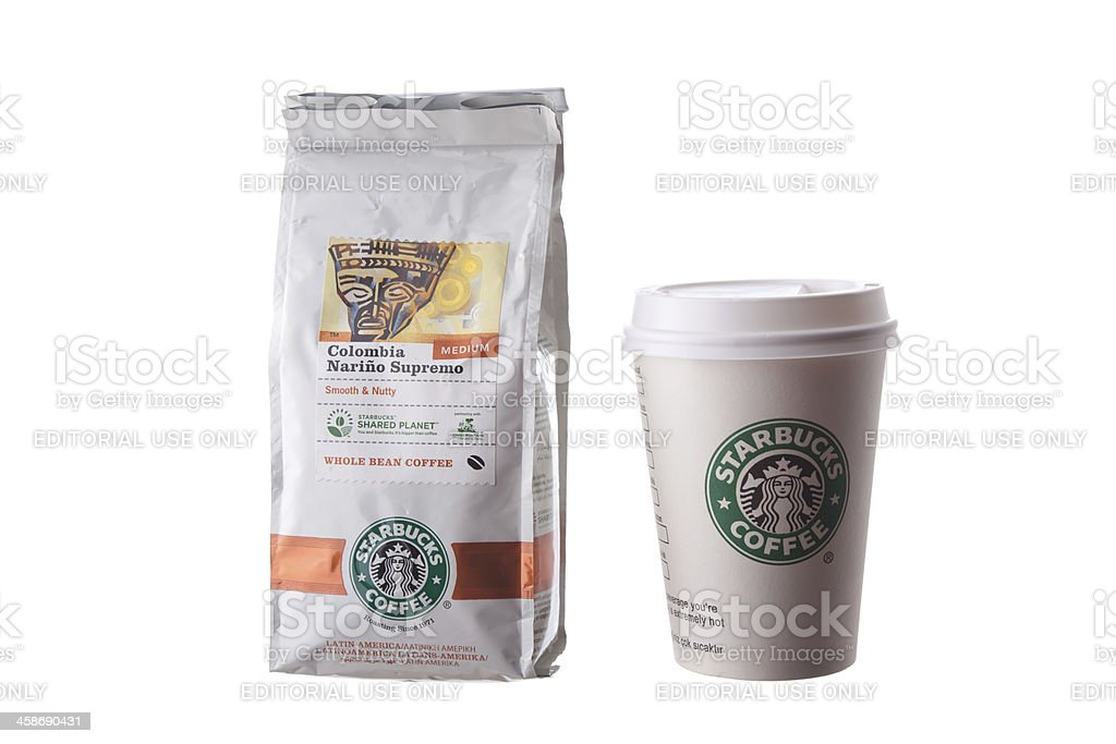 Starbucks Colombian coffee package and cup on white background royalty-free stock photo