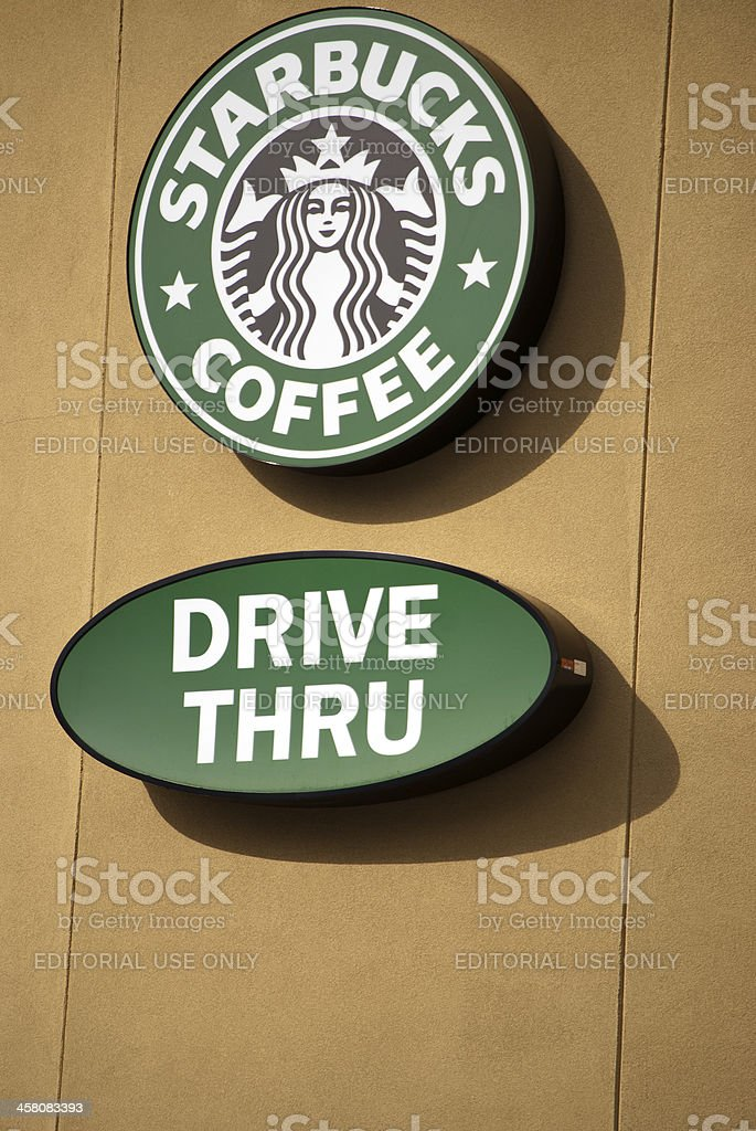 Starbucks Drive Thru Signage on Facade royalty-free stock photo