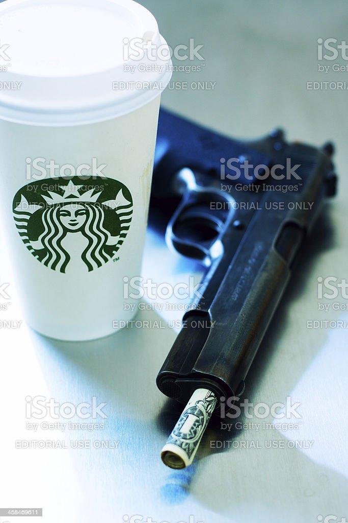 Starbucks Guns and Money stock photo