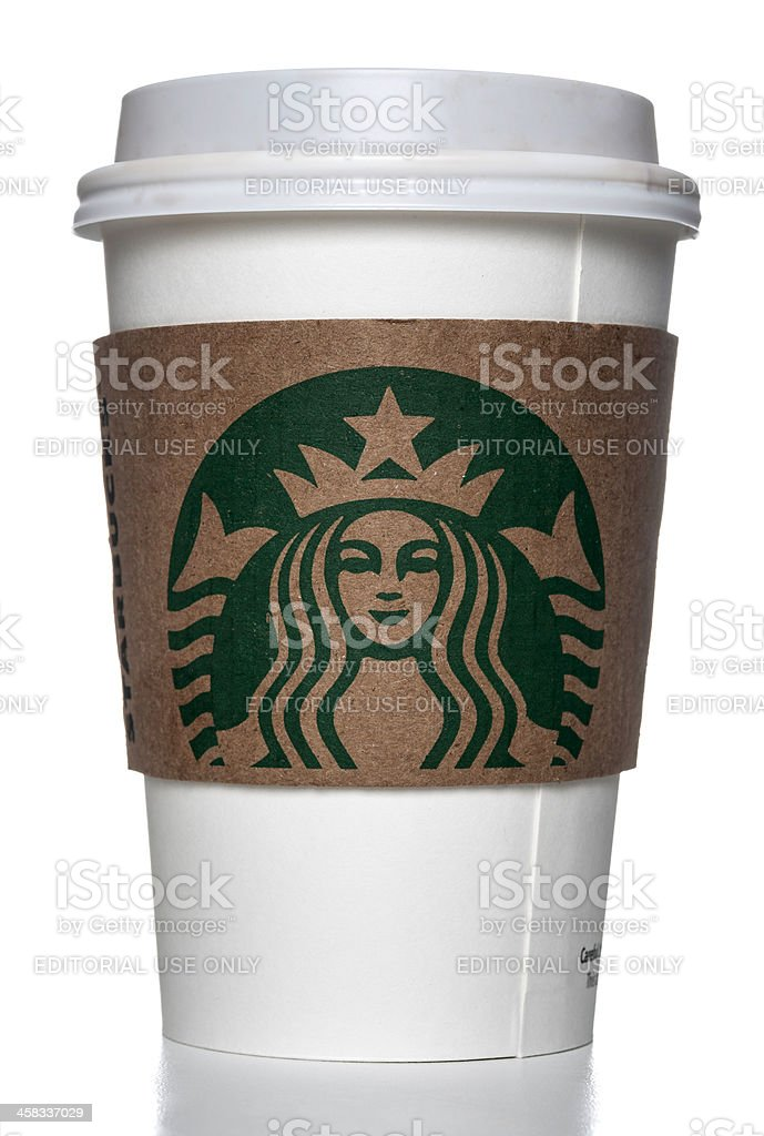 starbucks paper cup with holder stock photo