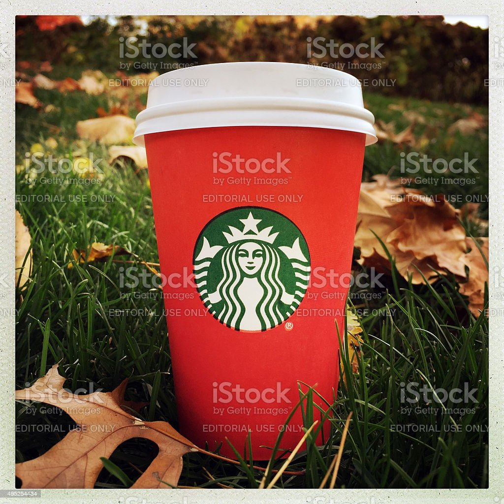Starbucks Red Holiday Cup stock photo