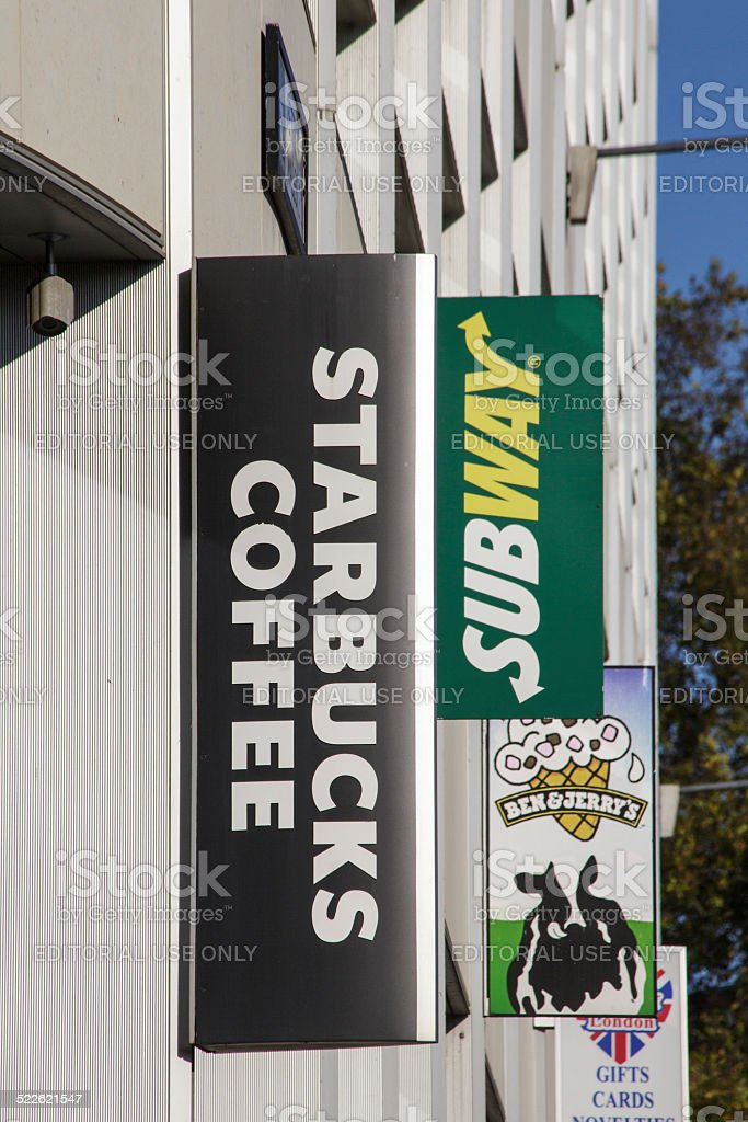 Starbucks, Subway, Ben & Jerry's stock photo