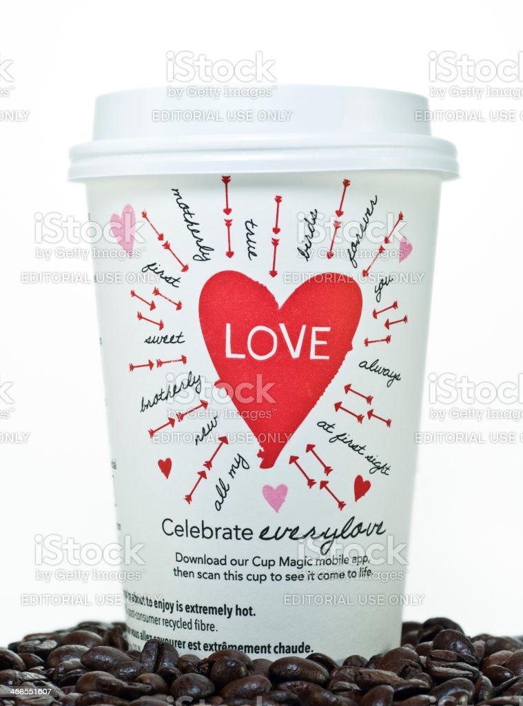 Starbucks Valentines Day Cup royalty-free stock photo