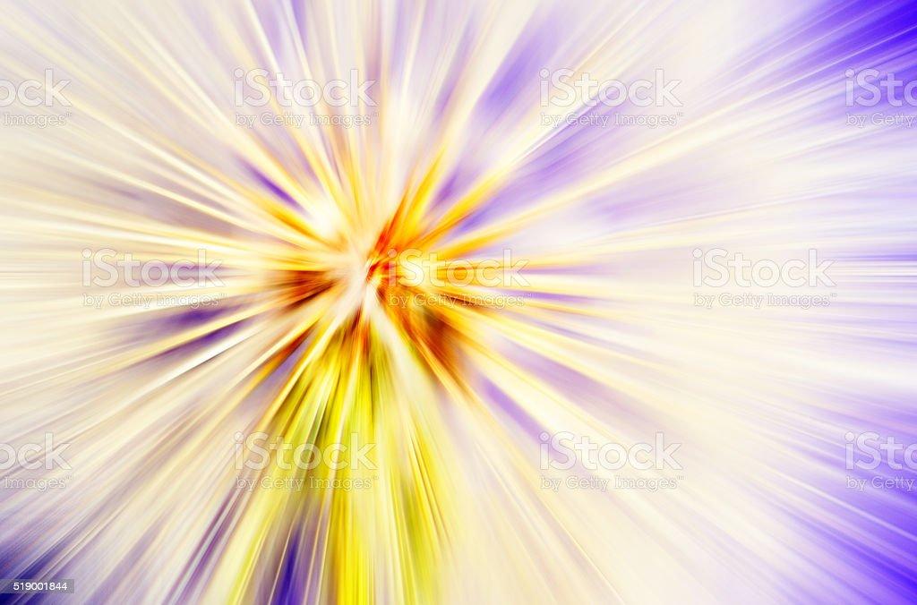 Starburst Purple Yellow Light Beam Abstract Background stock photo