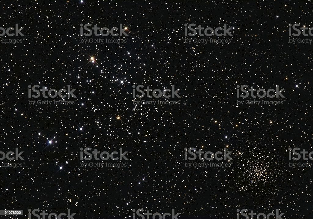 Starcluster M35 and NGC2158 stock photo